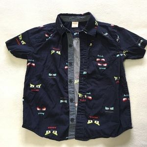 Boys 4T Gymboree navy short sleeve button up shirt